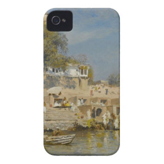 Temples and bathing ghat at Benares by Edwin Lord iPhone 4 Cover
