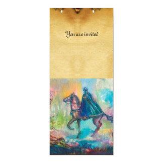 TEMPTATION parchment blue pink brown yellow 10 Cm X 24 Cm Invitation Card