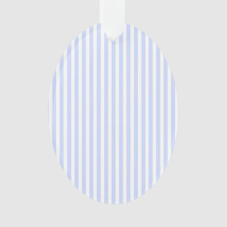Tender Baby Blue Pale Sky Blue and White Stripe Ornament