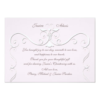 """Tender Heart Pink Religious Thank You 5"""" X 7"""" Invitation Card"""