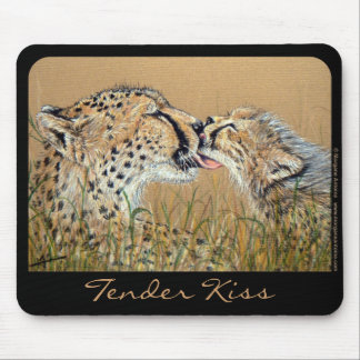 Tender Kiss Cheetah Baby Mom mousepad