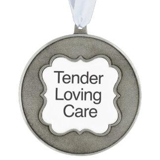 Tender Loving Care Scalloped Pewter Ornament