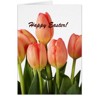 Tender pink tulips greeting card