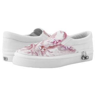 tender pretty peonies petals printed shoes