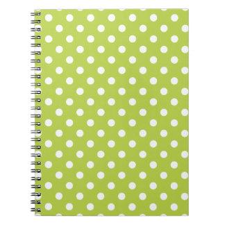 Tender Shoots Green Polka Dot Pattern Notepad Notebook