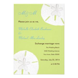 Tender Shoots Green Sand Dollar Wedding Personalized Invitation