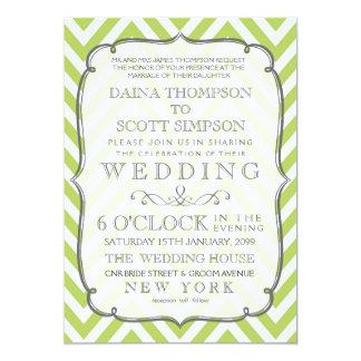 Tender Shoots Lime Green Chevron Stripes Wedding 13 Cm X 18 Cm Invitation Card