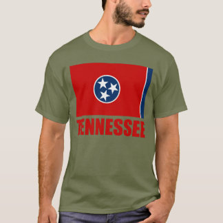 Tennessee Flag Red Text T-Shirt