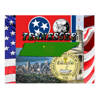 Tennessee Map Flag State Seal and Pictures Postcard