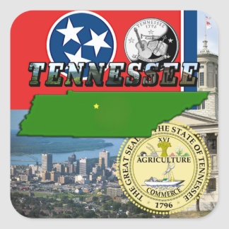 Tennessee Map, Flag, State Seal and Pictures Square Sticker
