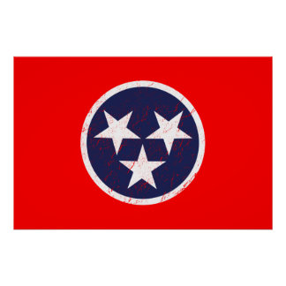 Tennessee State Flag Grunge Nashville Love Poster