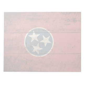 Tennessee State Flag on Old Wood Grain Notepad