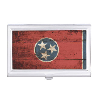 Tennessee State Flag on Old Wood Grain Business Card Holder