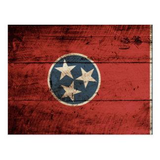 Tennessee State Flag on Old Wood Grain Postcard