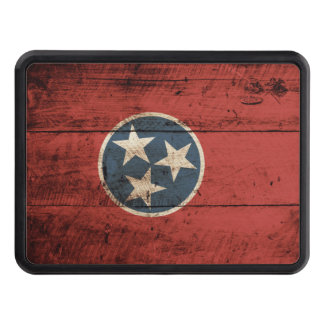 Tennessee State Flag on Old Wood Grain Tow Hitch Covers