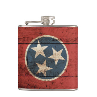 Tennessee State Flag on Old Wood Grain Hip Flask