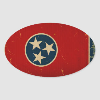 Tennessee State Flag VINTAGE Oval Sticker