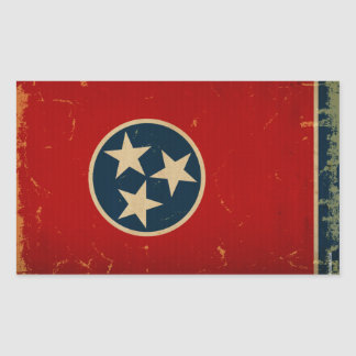 Tennessee State Flag VINTAGE Rectangular Stickers