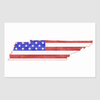 Tennessee USA flag silhouette state map Rectangular Sticker