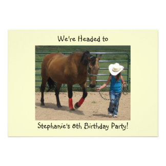 Tennessee Walking Horse and Girl - Party Announcements