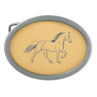 Tennessee Walking Horse Oval Belt Buckle