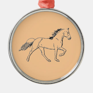 Tennessee Walking Horse Silver-Colored Round Decoration