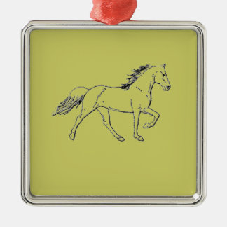 Tennessee Walking Horse Silver-Colored Square Decoration