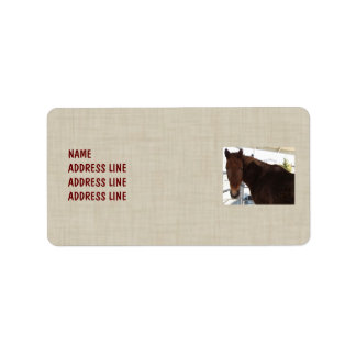 Tennessee Walking Horse Linen Look Pattern Western Address Label