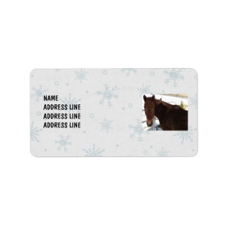Tennessee Walking Horse Snowy Background - Western Address Label