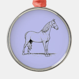 Tennessee Walking Horse - Standing Silver-Colored Round Decoration
