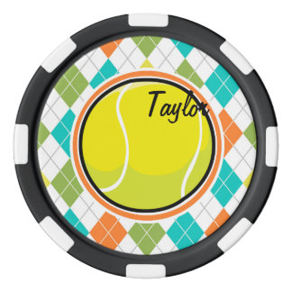 Tennis Ball on Colorful Argyle Pattern Poker Chips Set