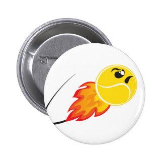 Tennis ball on fire 6 cm round badge