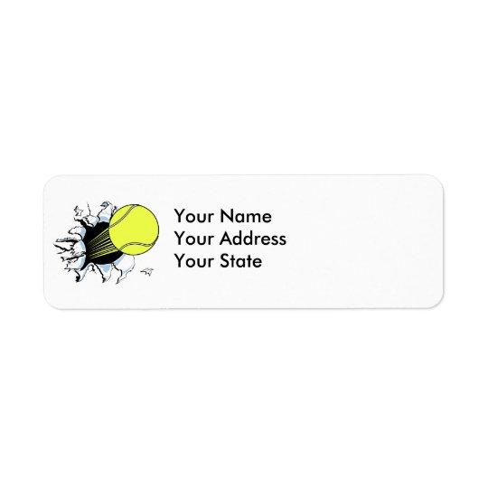 tennis ball ripping through return address label