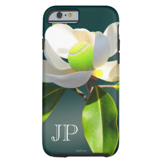 Tennis magnolia flower monogram tough iPhone 6 case