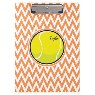 Tennis; Orange and White Chevron Clipboards