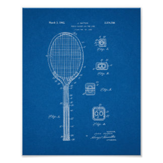 Tennis Racket And The Like Patent - Blueprint Poster