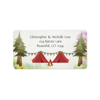 Tents with Buntings, Campfire, Woodland, Camping Label