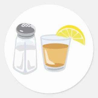 Tequila Drink Glass Salt Shaker Lemon Classic Round Sticker