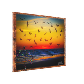 Tequila Sunrise Atlantic Ocean Groovy Palm Tree Ar Canvas Print