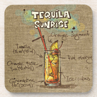 Tequila Sunrise Cocktail Drink Coaster