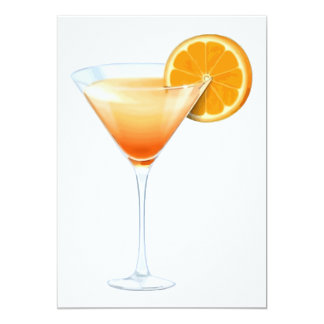 "Tequila Sunrise Cocktail 5"" X 7"" Invitation Card"