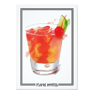 "Tequila Sunrise Cocktail Marker Sketch  Invited 5"" X 7"" Invitation Card"