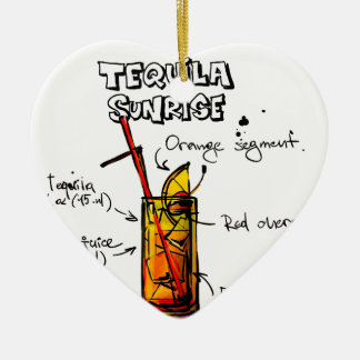 Tequila Sunrise Cocktail Recipe Ceramic Heart Decoration