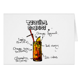 Tequila Sunrise Cocktail Recipe Greeting Card