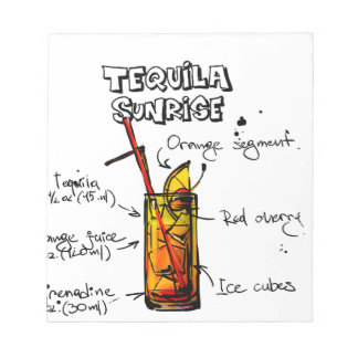 Tequila Sunrise Cocktail Recipe Notepad