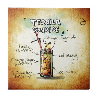Tequila Sunrise Cocktail Recipe Small Square Tile