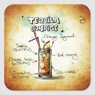 Tequila Sunrise Cocktail Recipe Square Sticker