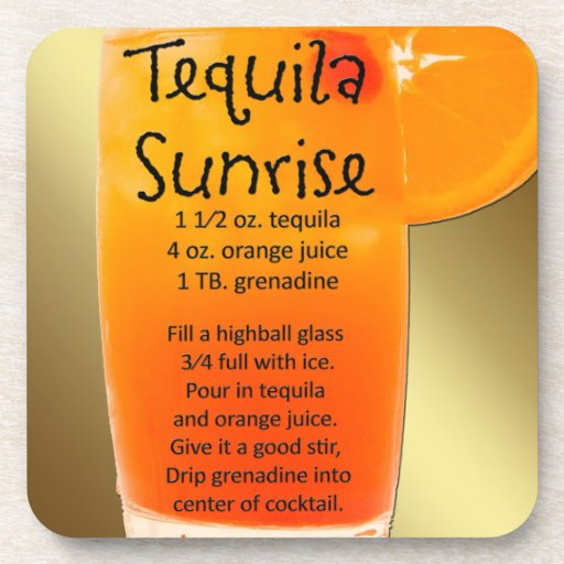 Tequila Sunrise Drink Coasters