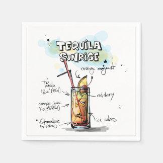 Tequila Sunrise Drink Recipe Cocktail Napkin Disposable Napkins