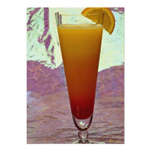 Tequila sunrise personalized invitation